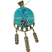 Southwestern Micro Mosaic 'Yei' Inlay Pendant in Sterling Silver