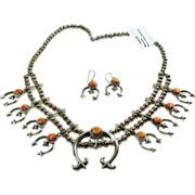 Sterling Silver and Spiny Oyster Mini Squash Blossom Necklace and Earrings
