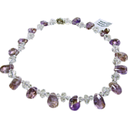 Natural Ametrine and Clear Quartz Crystal Necklace