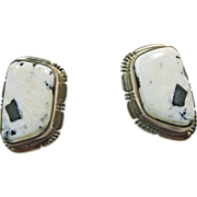 White Buffalo Sterling Silver Clip Earrings