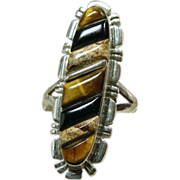 Sterling Silver Navette Shape Ring with Tiger's Eye and Agate