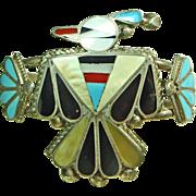 SALE Zuni Thunderbird Inlay Sterling Silver Cuff Bracelet