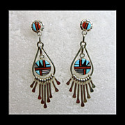 SALE Zuni Sterling Silver Earrings with Stone on Stone Inlay