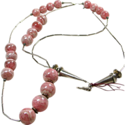 Sterling Silver and Graduated Rhodochrosite Bead Necklace