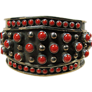 SALE Navajo Red Coral and Sterling Silver Cuff Bracelet
