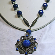 SALE 1930s Faux Denim Lapis and Filigree Necklace