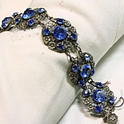 1920s-1930s Link Style Bracelet with Floral Motif with Dark Blue Chatons