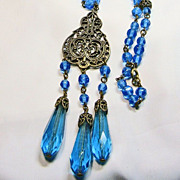 SALE Czech Brass Filigree and Blue Glass Stones Necklace