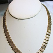 SALE Victorian Two Tone Gold Over Brass Book Chain Necklace