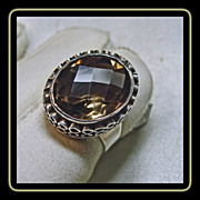 Smokey Quartz and Sterling Silver Ring