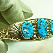 SALE Native American Heavy Sterling Silver Cuff Bracelet with Turquoise Nuggets