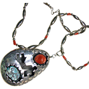 Large Silver Overlay Pendant with Turquoise and Coral on Necklace of Sterling Silver and Red .