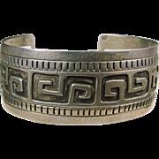 Southwestern Sterling Silver Bracelet with Greek Key Design
