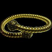 Victorian Gold Over Brass Etruscan Bypass Bracelet