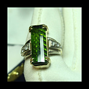 SOLD Custom 14k Yellow and White Gold Ring with Green Tourmaline & Diamonds