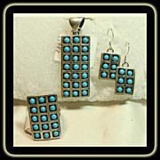 SALE Navajo 3 Piece Set in Sterling Silver with Snake Eye Turquoise