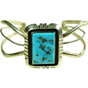 Sterling Silver Cuff Bracelet with Deep Blue Turquoise