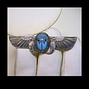 SALE Egyptian Revival Scarab Brooch with  Plique a Jour Wings