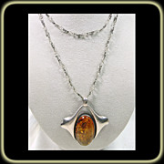 Arts & Crafts Style Amber Pendant with Handmade Chain