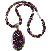 Purple Spiny Oyster and Sterling Silver Pendant and Necklace