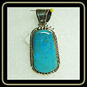 Deep Aqua Turquoise in Sterling Silver Pendant bY Daniel Mike