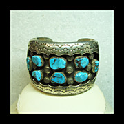 Sterling Silver  Cuff Bracelet with Silver Overlay and Turquoise Nuggets
