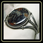 Sterling Silver and Petrified Wood Cuff Bracelet