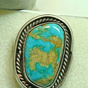 Native American Sterling Silver Ring with Royston Turquoise