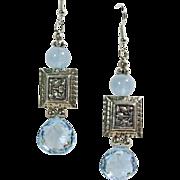 SOLD Blue Topaz, Aqua and Sterling Silver Chandelier Earrings