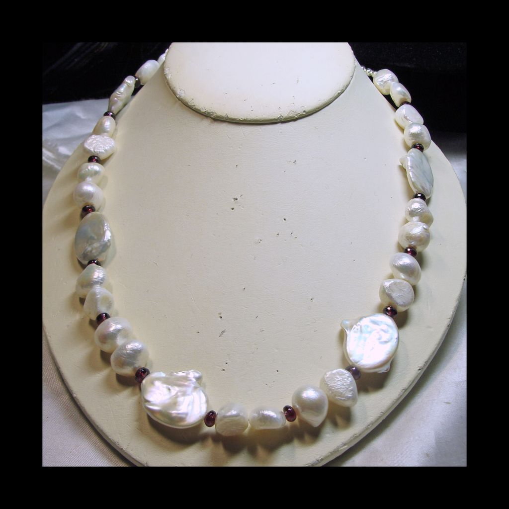Freshwater Baroque And Coin Pearl Necklace With Garnets