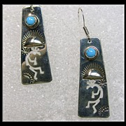 -Sterling Silver and Turquoise Kokopelli Earrings