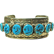 SALE Sterling Silver Cuff Bracelet with Vivid Blue Turquoise by Fred Peters Navajo