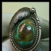 Light Blue Green Turquoise and Sterling Silver Ring