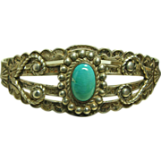 Fred Harvey Style Sterling Silver Bracelet with Turquoise