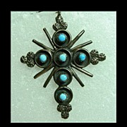 Vintage Turquoise and Silver Cross