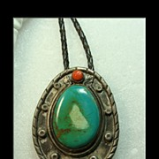 Vintage Bolo with Blue Green Turquoise and Coral in a Unique Sterling Setting