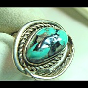 Vintage Turquoise in Ring of Sterling Silver.