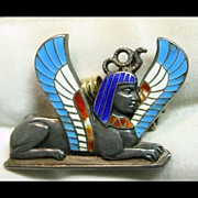 SOLD Sphinx Pin/Pendant in  Silver and Brilliant Shades of Enamel