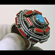 SALE Tibetan Sterling Silver Ring with Red Coral and Tibetan Turquoise