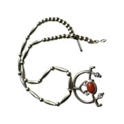 Sand Cast Naja with Coral Cabochon on Silver Bead Necklace