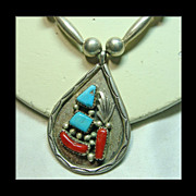 SALE Zuni Bench Bead Necklace with Turquoise and Coral Pendant