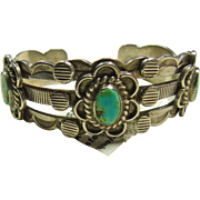 1930s Heavy 3 Wire Sterling Cuff Bracelet with Green Fox Turquoise