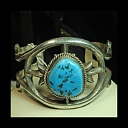 SALE Sterling Sandcast Cuff Bracelet with Sleeping Beauty Turquoise;Signed