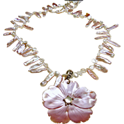 Necklace of Light Pink Stick Pearls and Cream Keishi Pearls with MOP Lavender Flower Pendant