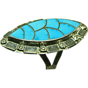 Zuni Sterling Silver and Turquoise Inlay Ring