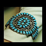 SOLD Vintage Sterling Silver and Turquoise Cluster Bracelet with Cutout Designs