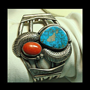 Sterling Silver Cuff Bracelet with Turquoise, Coral and Silver Overlay