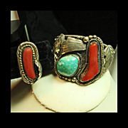 Silver Cuff Bracelet and Ring with Turquoise and Coral