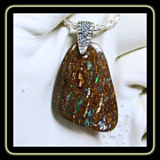 Australian Boulder Opal on a Sterling Silver Wheat Link Chain