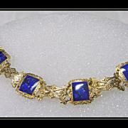 SALE Vermeille Link Bracelet with Deep Blue Enamel